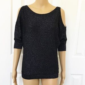 Express cold shoulder sparkly top XS